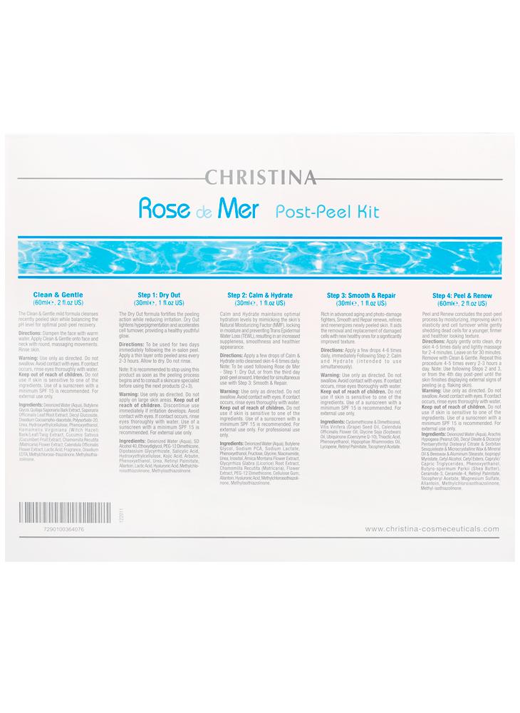 Rose de Mer Post-Peel kitRose de Mer<br>Препараты улучшают результат процедуры и способствуют восстановлению кожи после пилинга, снижают риск появления постпилинговых осложнений, таких, как гиперпигментация, рецидив акне, эритема.<br>